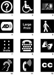 Digital inclusion for the disabled symbols;take from: http://signsanddisplays.wordpress.com/2011/03/06/disability-access-sign-symbols-for-download/
